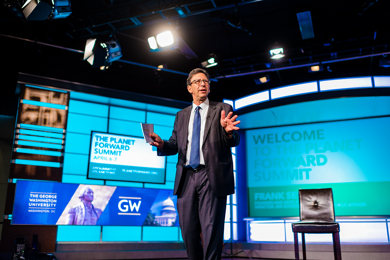 Planet Forward Founder Frank Sesno welcomes attendees to the Summit. (Photos by Mason Photography/The George Washington University)