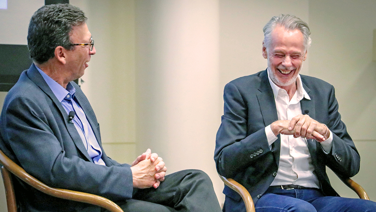 Frank Sesno and Lindblad Expeditions CEO Sven Lindblad share a laugh at the lunch talk on April 5. Thanks to Lindblad for helping us take students to Alaska for the fourth annual Planet Forward Storyfest Award.
