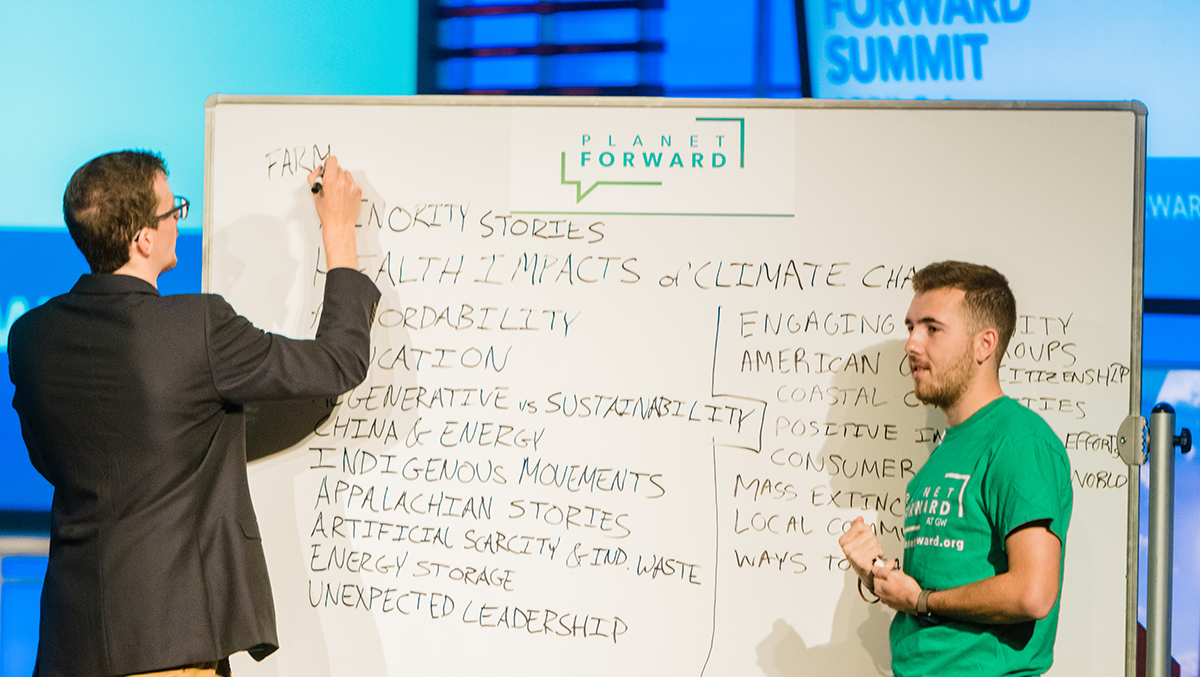 After the Town Hall, Frank Sesno opened up the floor and broke out the white board for us to record story ideas at the conclusion of the 2018 Summit.