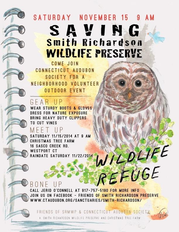 A flyer encourages local volunteers to contribute to the clean-up of the Smith Richardson Preserve. The first volunteer day on Nov. 22, 2014 became an annual event (Photo courtesy of Jerid O'Connell).