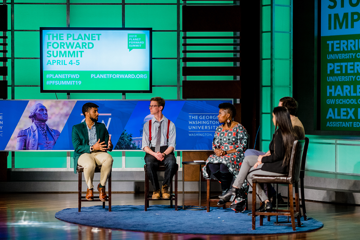 Students share insight into how they became storytellers for the planet. From left: Terrius Harris, University of Mississippi; Peter Jurich, University of Wisconsin-Madison; Dr. Imani Cheers; Alex Rubenstein, Assistant Editor at Freethink Media; and Harleen Marwah, GW School of Medicine.