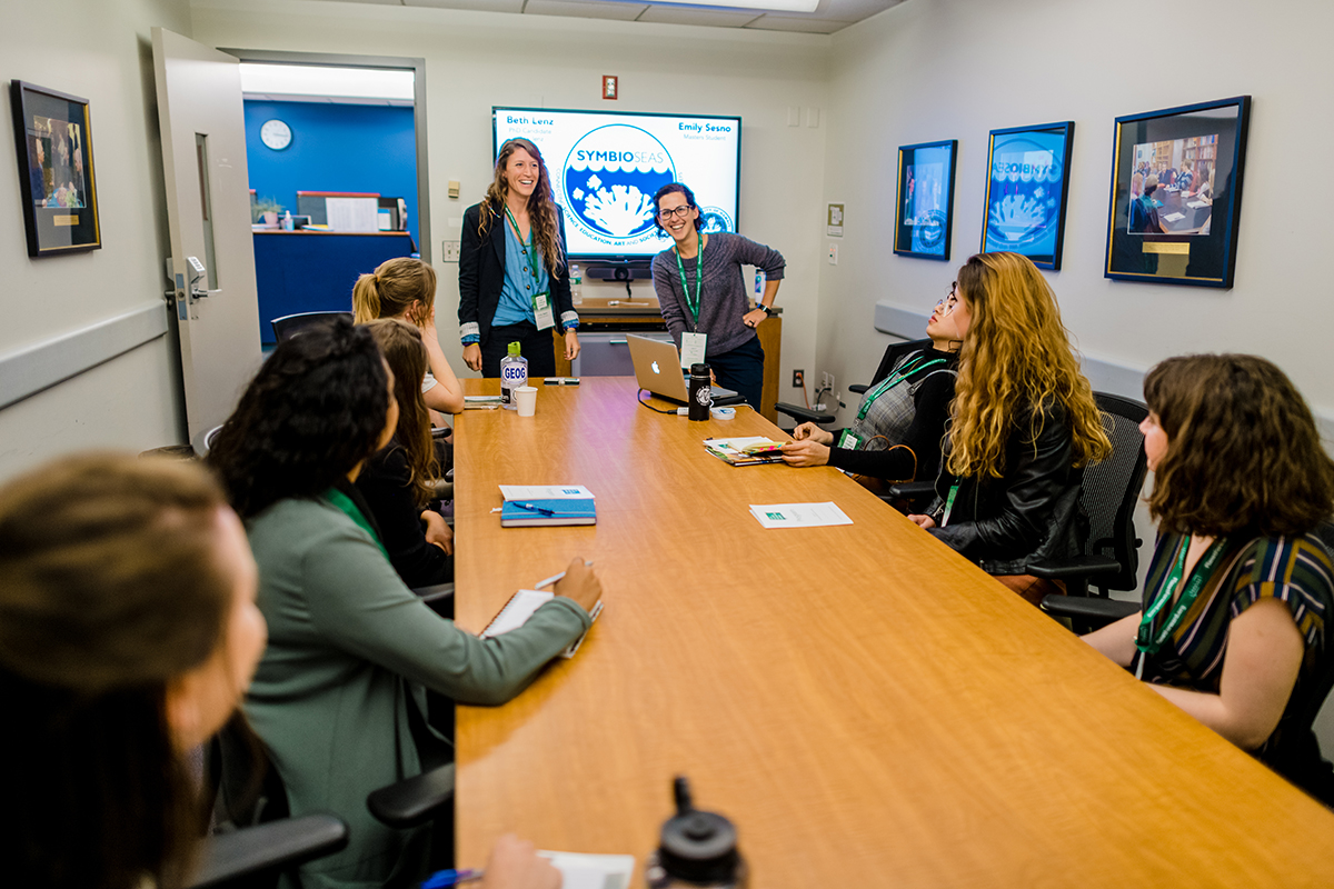 University of Hawaii grad students Emily Sesno and Beth Lenz held a breakout session on how we can connect science, education, and art.