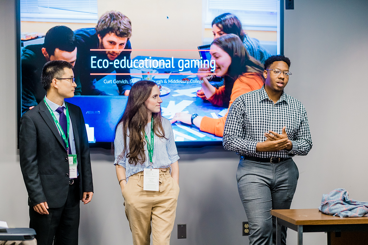 The breakout on Eco-Educational Gaming brought some students from the audience to participate in the discussion.