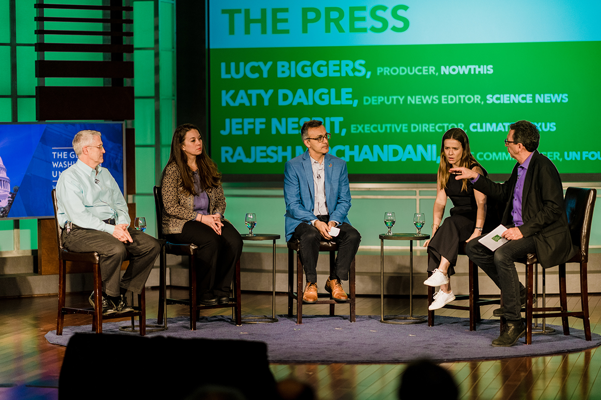 Jeff Nesbit, Katy Daigle, Rajesh Mirchandani, and Lucy Biggers join Frank Sesno for an audience-led conversation on how the press is covering climate.