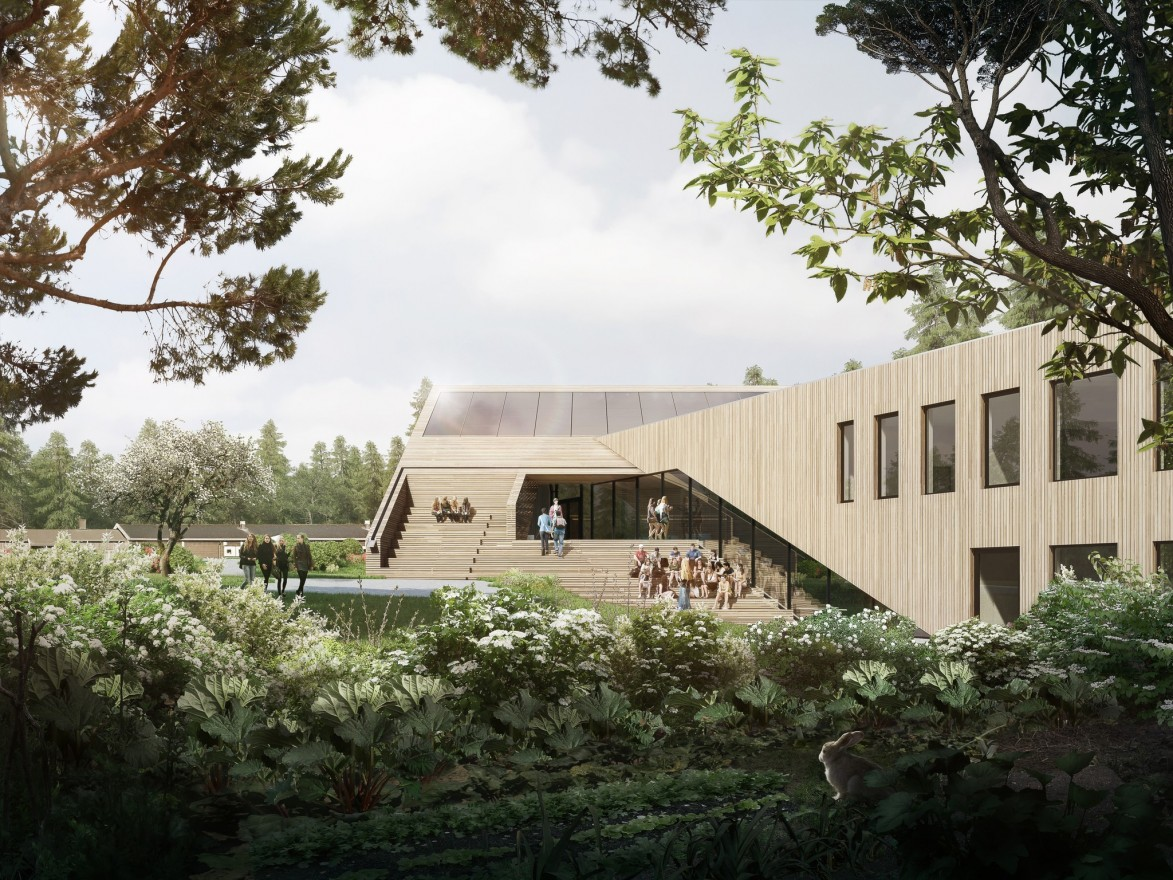 The greenest school in Norway, Powerhouse Drøbak Montessori lower secondary school, is under construction. (Powerhouse)