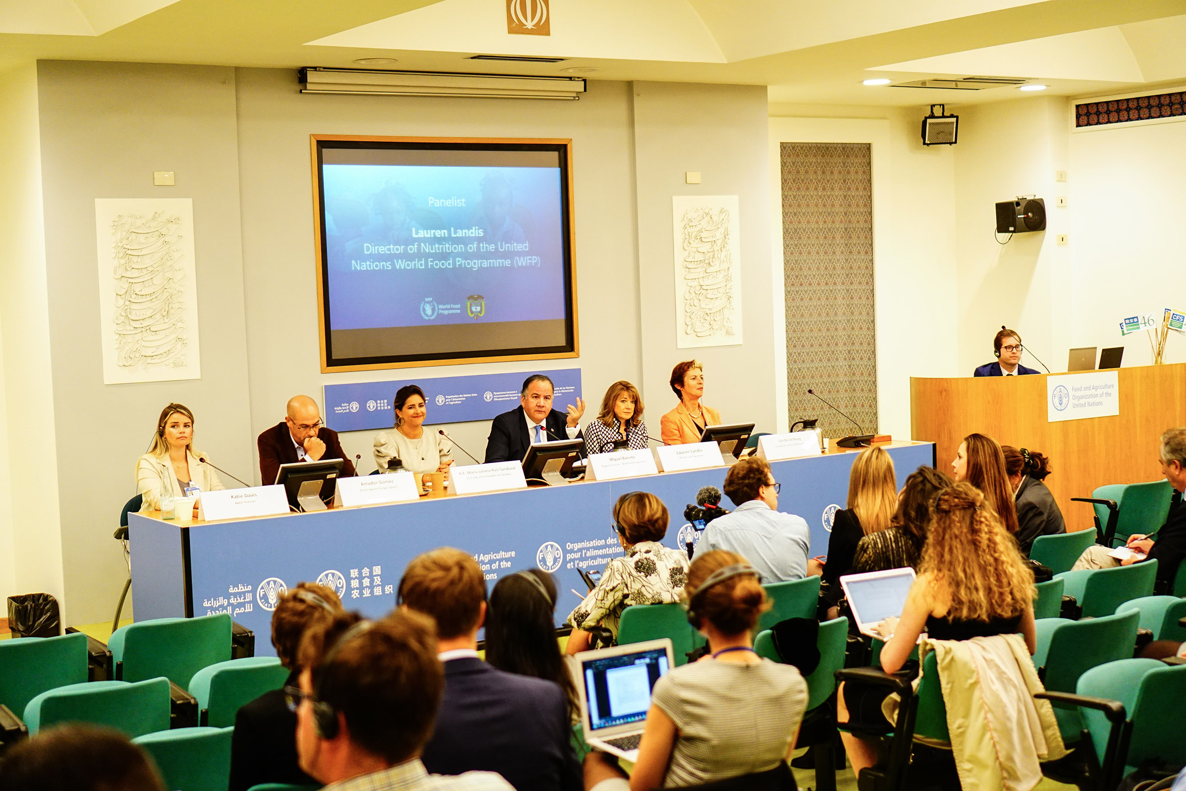 "A side event, held in the Green Room at the FAO, ""A Path to Sustainability: Are innovation and agroecology capable of working hand-in-hand?"" featured panelists from the International Agri Food Network, Maizall, Global Farmer Network, Farming First, and Argentina."