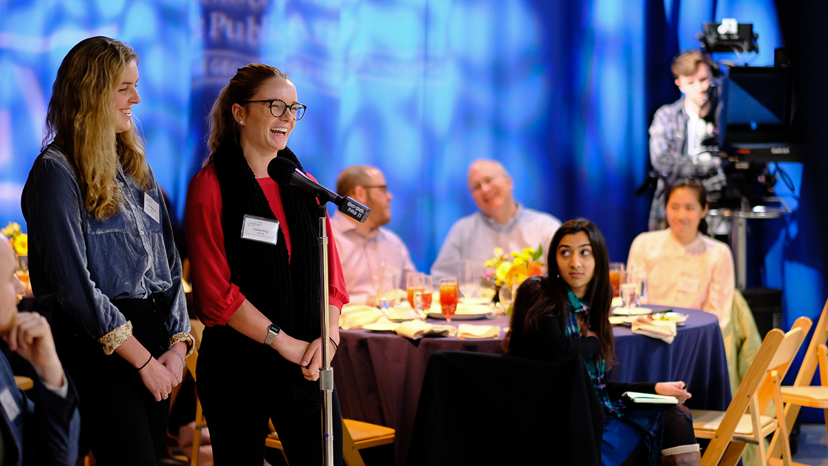 Last Call co-founders, GW alumna Erin McGeoy and GW senior Chloe King, laugh at a comment from the panel.
