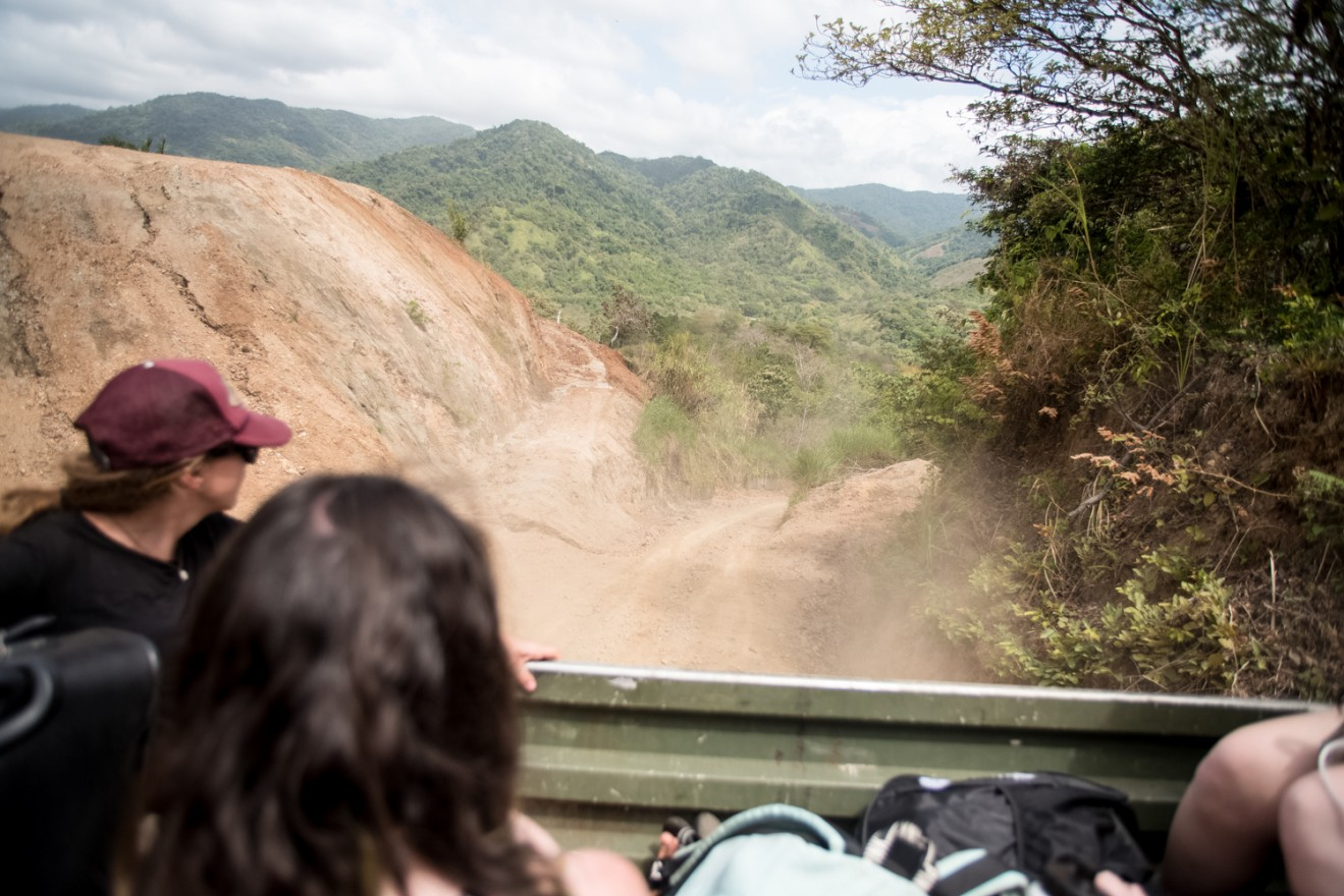 The road to Kalu Yala, as seen from the back of a truck. (Photos by Colin Boyle/Medill)