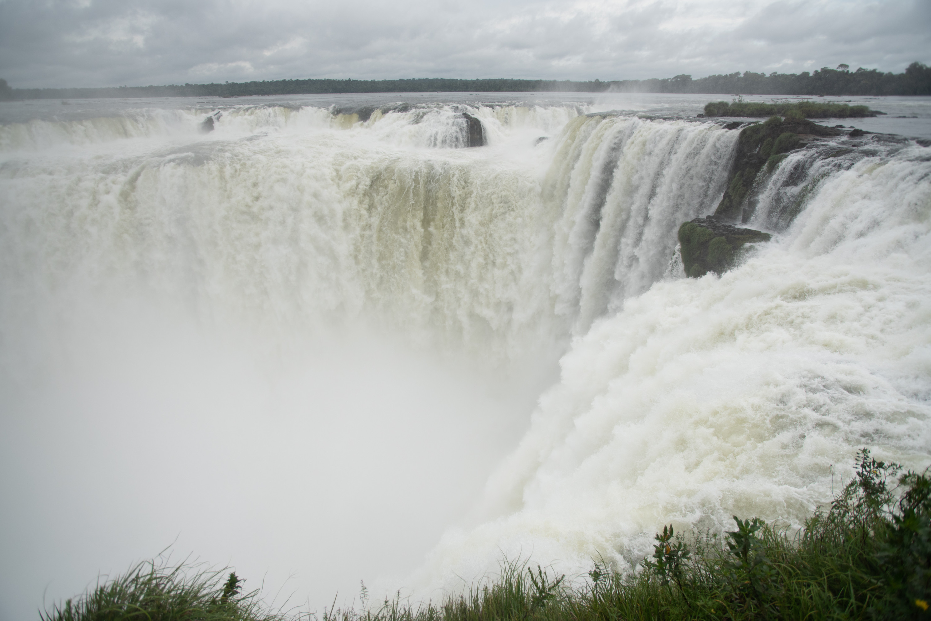 Water rushes down at the Devil's Throat in Iguazú National Park.