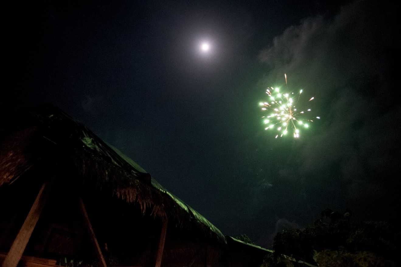 A firework bursts in the sky during the Jungle Prom.