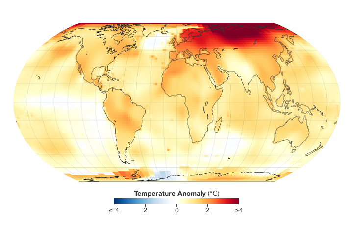 Temperatures around the world have steadily risen in the last several decades. (NASA's Goddard Space Flight Center)