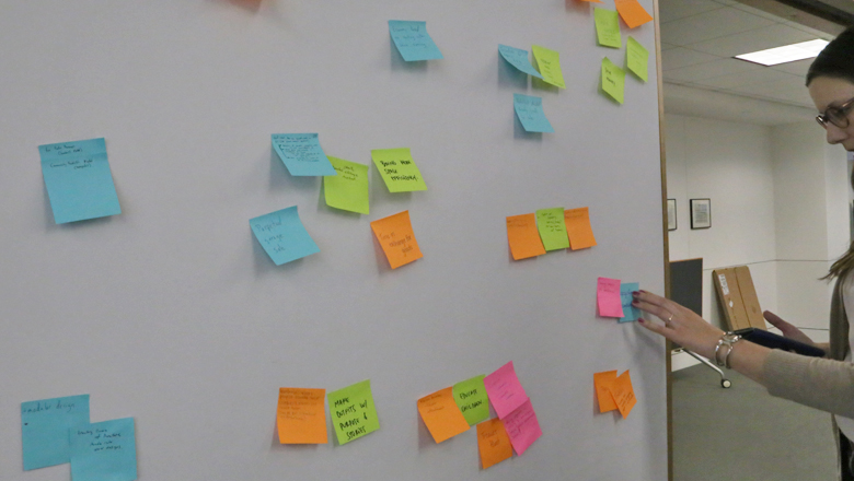 The idea wall helps visualize and organize possible solutions.