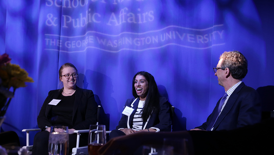 Eliza Swedenborg (left) and Aparna Sridhar (center) talk to Frank Sesno (right) about their role in solving the water crisis. (Photos by Anna Sumi/Planet Forward)