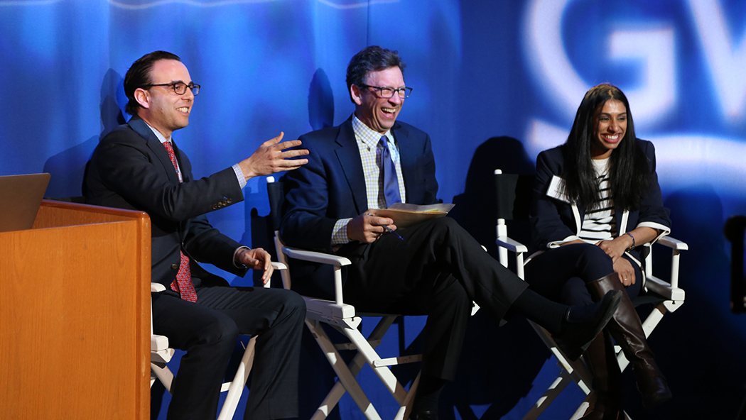Jason Haber (left) offers some humorous insight to better communicate the science and business behind the water crisis.