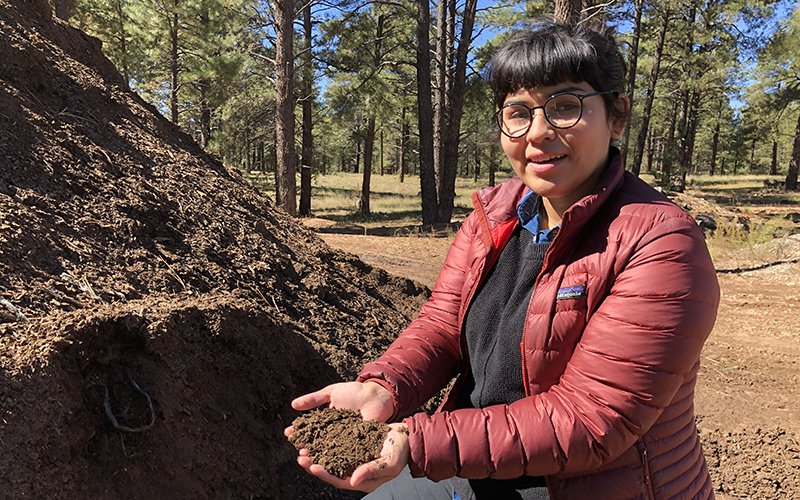 Gaby Galvan is Northern Arizona University's campus dining sustainability coordinator. At least 90% of NAU's dining hall food waste is composted, and eventual turned into dirt. (Photos by Bryce Newberry/Cronkite News)
