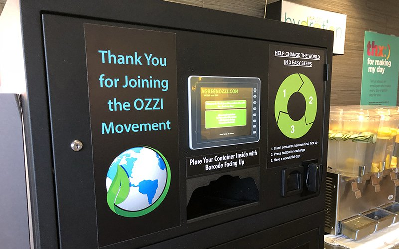 This machine collects reusable food containers and cups after students are done using them, in one of Northern Arizona University's dining halls. Students pay a one time fee to access the eco-friendly food boxes.