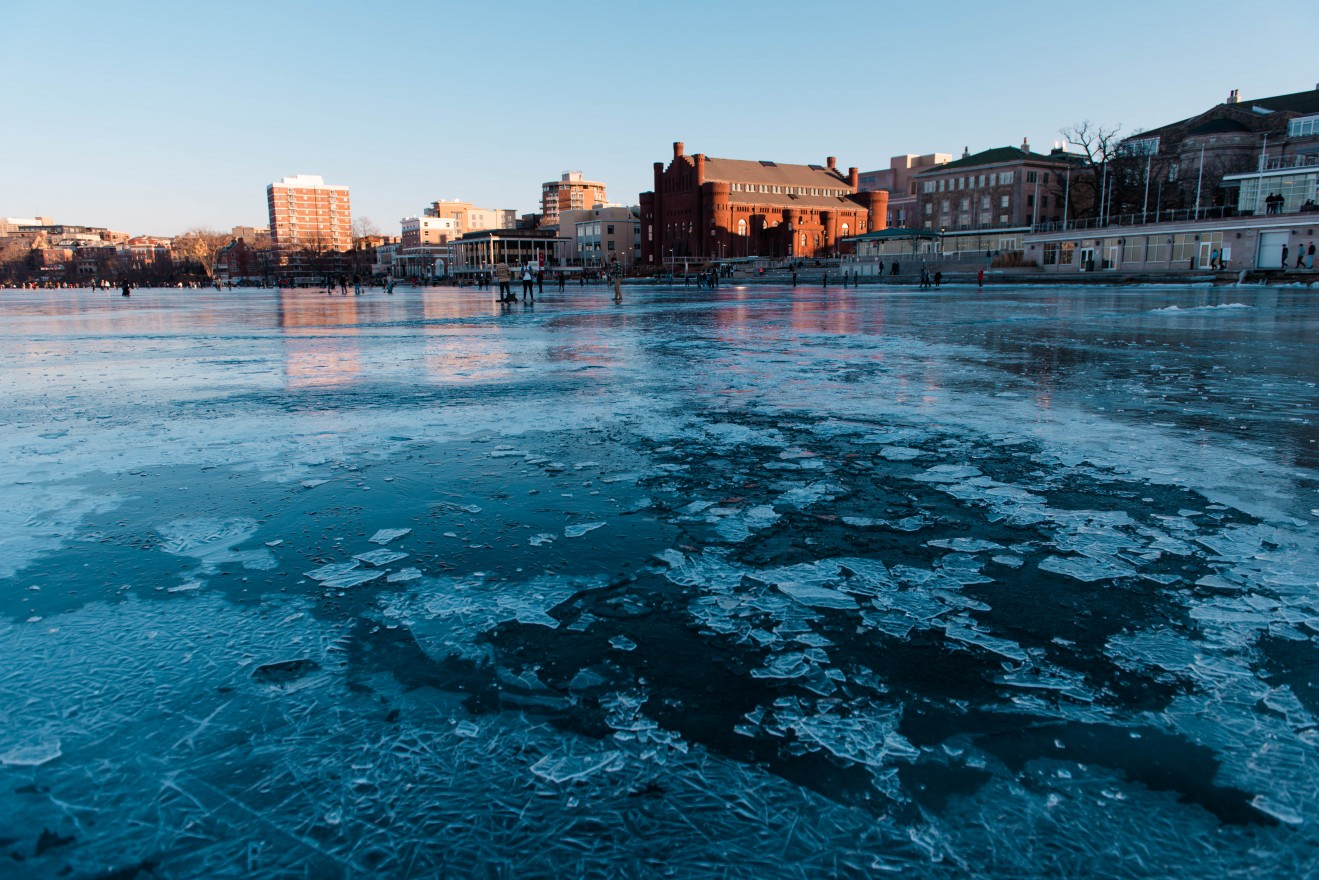 In mid-January the warming melted the ice surface and it was fragile after a rain.