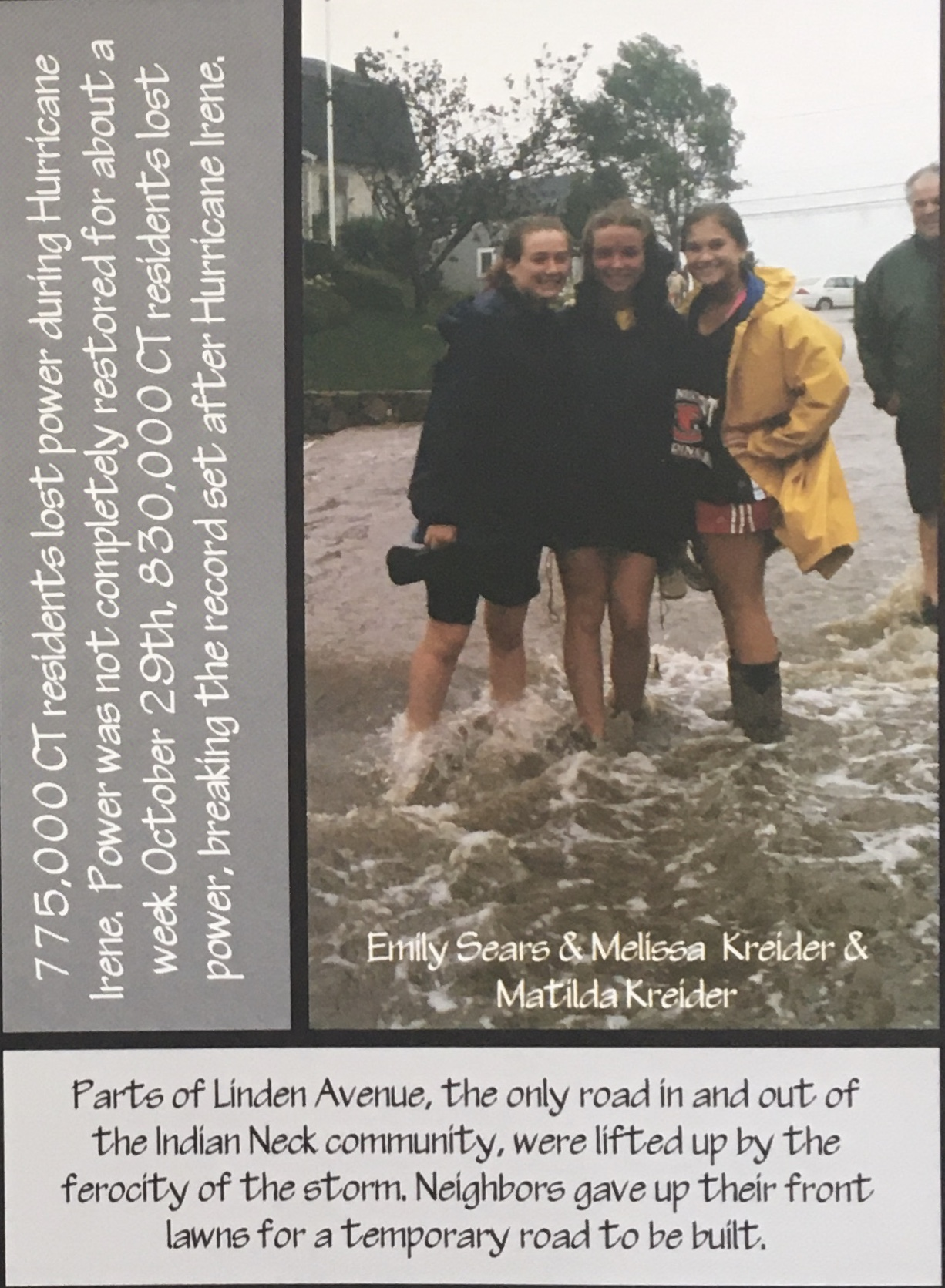 A close-up of the picture of me, my sister, and a friend in the 2012 yearbook, taken after the storms.