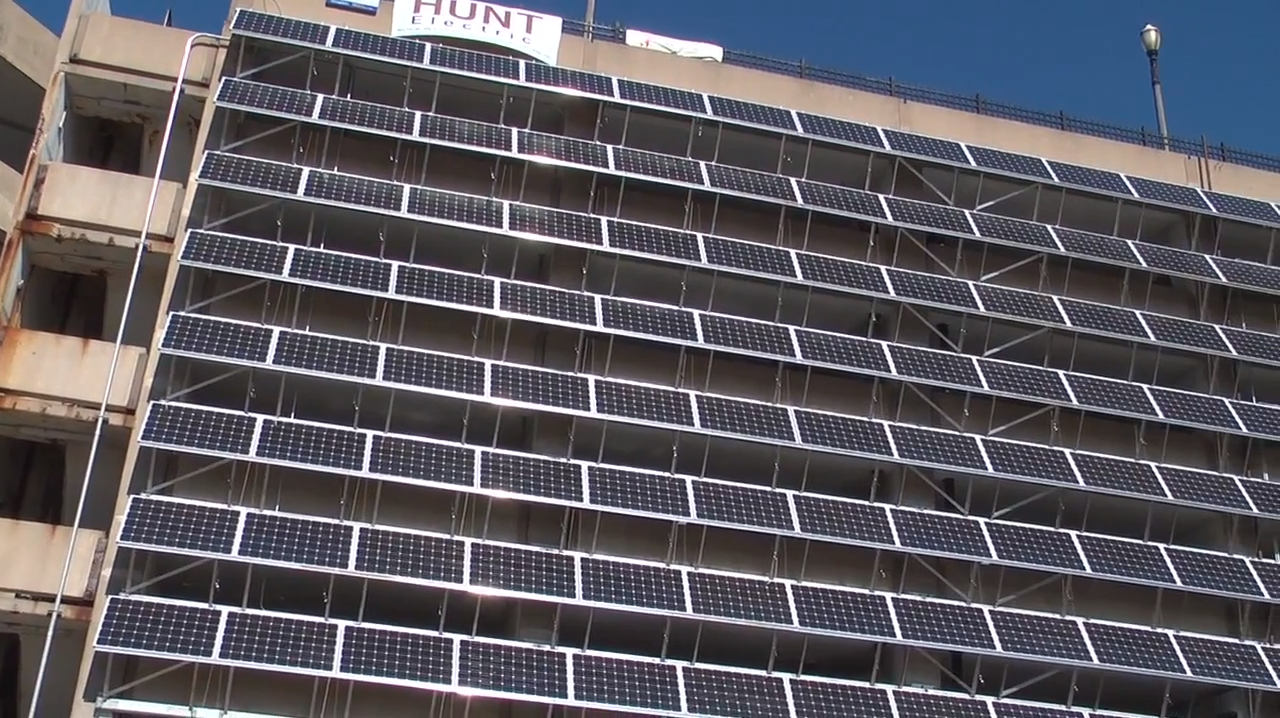 Photovoltaic Solar Panels On A Parking Garage Planet Forward