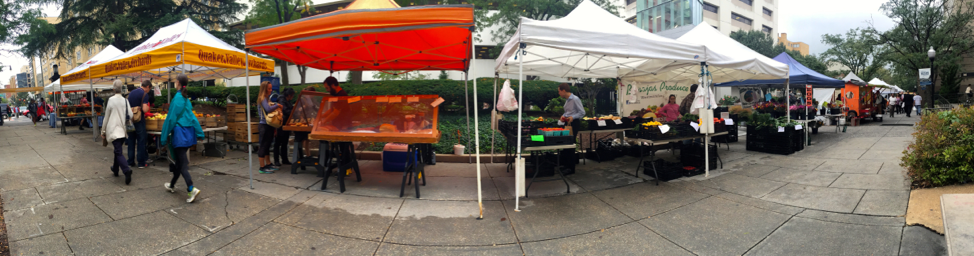 A panoramic of the farmers market.