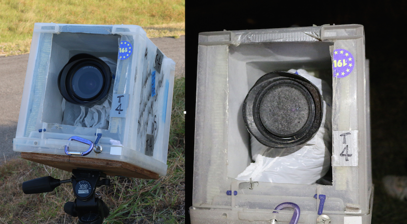 When you compare the pre-launch photo of equipment on the left to the post-launch photo on the right you can see just how powerful the exhaust blast from the rocket is. Besides the corrosive fuel residue caking the lens, you can see the bottom of the container has been strained apart. (Kelly Calagna/MEDILL)