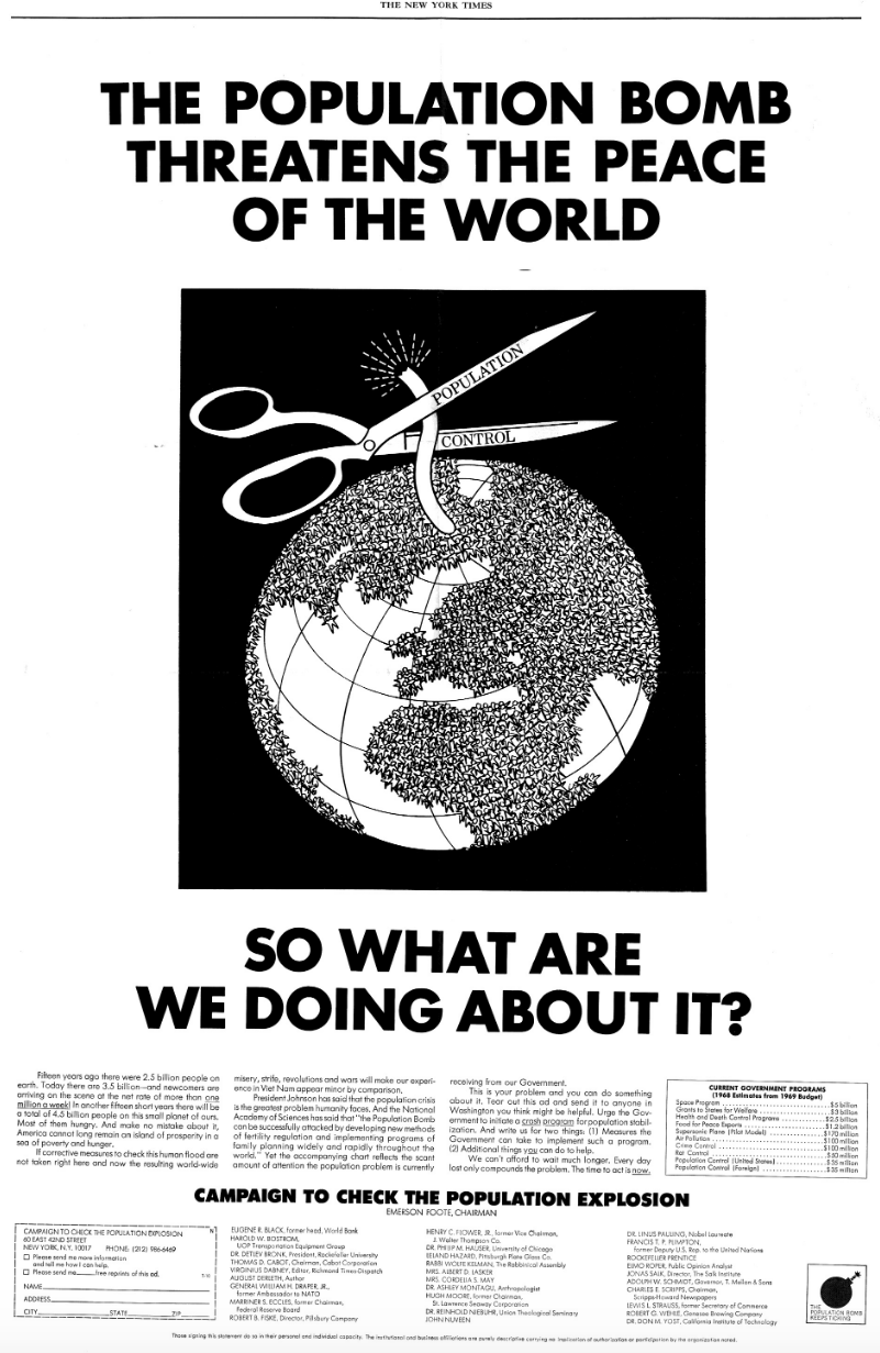 An ad run in The New York Times in the late 1960s by an American advertising agency; Source: The New Atlantis