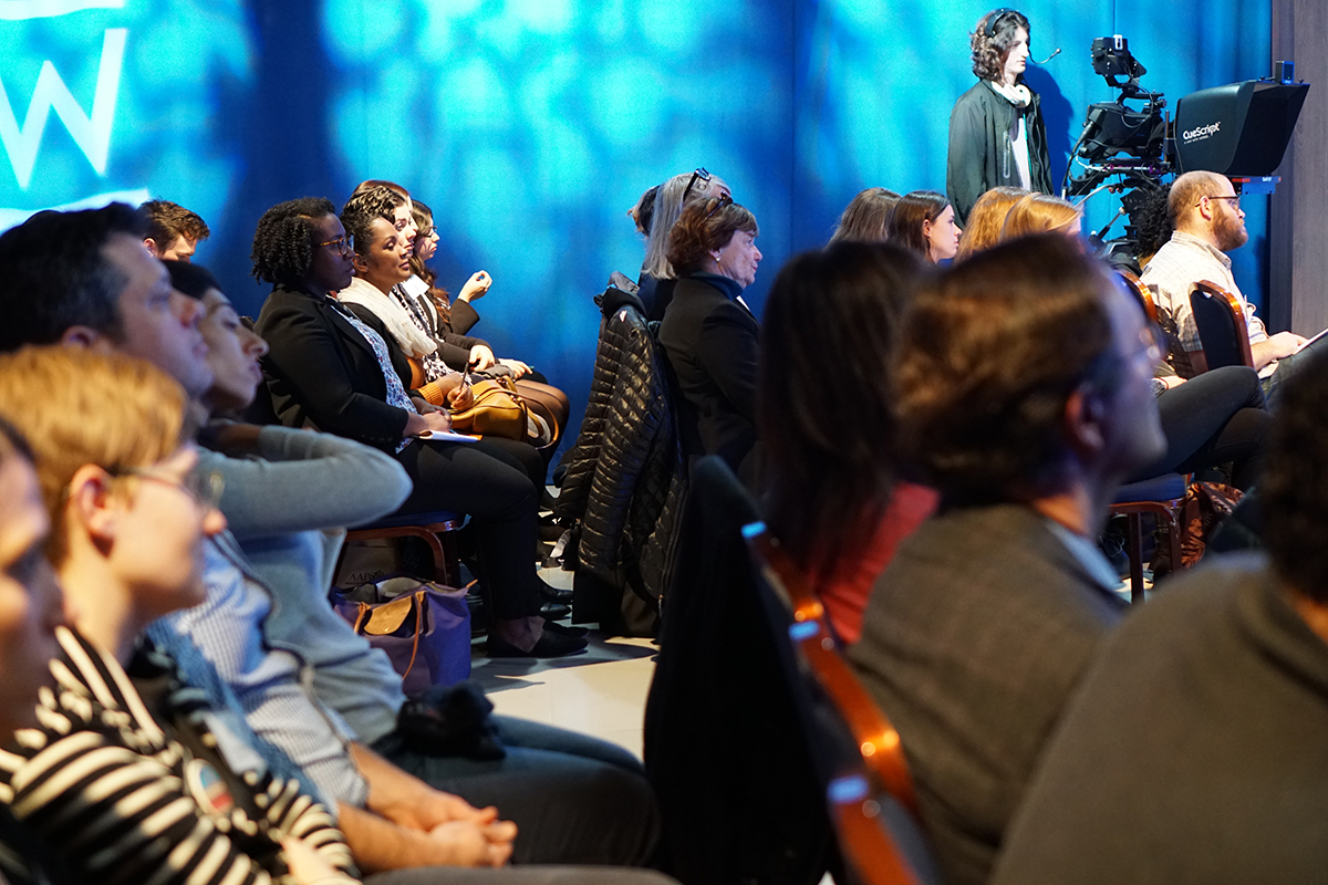 """The audience listens intently during the discussion of environmental justice and marginalized communities. Tanden said: """"Environmental justice is the right thing to do. Regardless of race or income, environmental justice is an important issue to address."""" (Kim Ossi/Planet Forward)"""