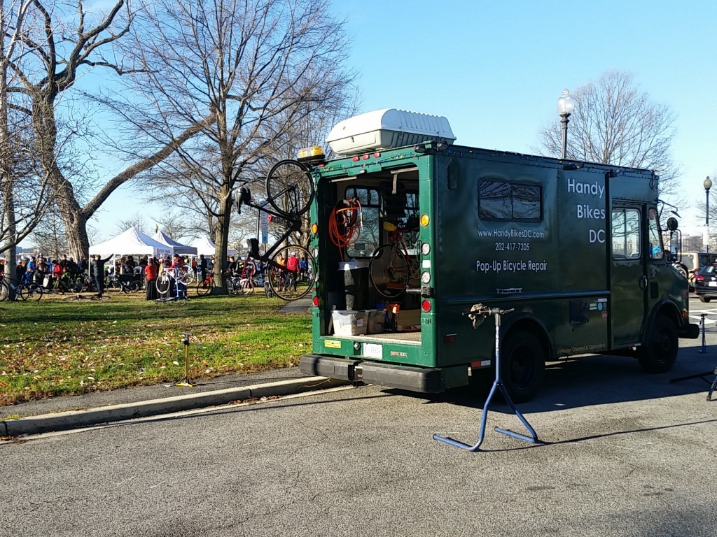 Handy Bikes DC working at a local cycling event. (Photo courtesy of Peter Buck)
