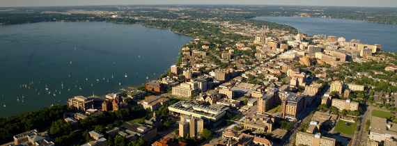 The city of Madison balances on an isthmus between two lakes. (City of Madison)