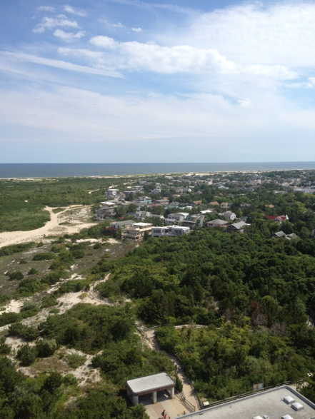 An aerial view of the island in the summer of 2013 during rebuilding efforts.
