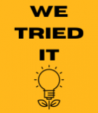 """Text reads """"We Tried It"""" above an illustration of a light bulb with a stem and two leaves."""