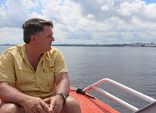 Mark Lichtenstein on a boat in Brazil
