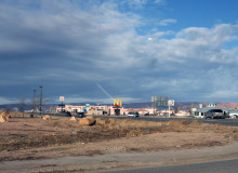 A strip of businesses including chain restaurants like McDonalds in Kayenta, AZ