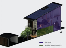 Digital rendering of the three-level EngiNUity home with a balcony and a small outbuilding