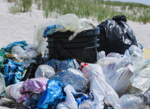 plastic bags piled up