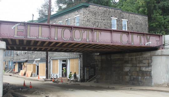 The bridge in Ellicott City among debris after the flooding in 2016.