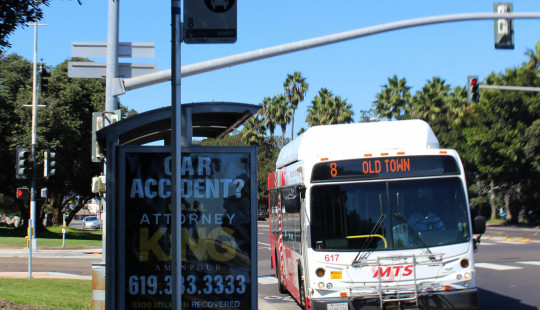 San Deigo Bus coming into a stop.