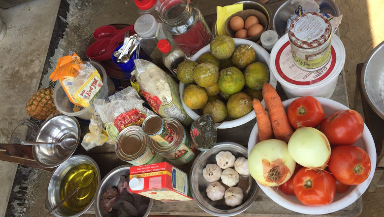 Photo of ingredients to be used in Kalu Yala's cooking class