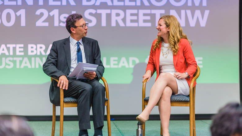 Frank Sesno (left) and Google's Sustainability Lead Kate Brandt (right) have a conversation about sustainable business practices.