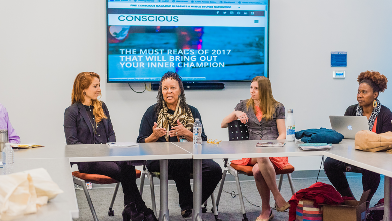 Co-Founder and Editor in Chief of Conscious Magazine Rachael Baxter (left), filmmaker Dr. Wilma Mosley Clopton (left-center), and Associate Editor of the Nature Conservancy Jenny Rogers (right-center), discuss narrative storytelling with Imani Cheers (left).
