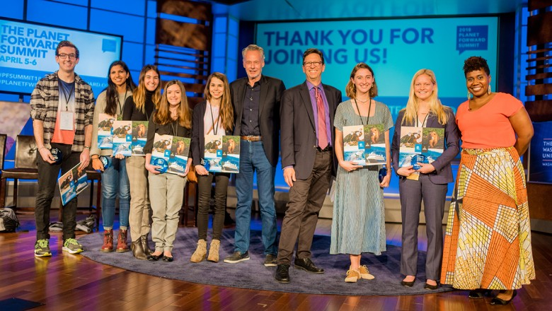 The Storyfest winners, plus Frank Sesno, Sven Lindblad and Dr. Imani Cheers, lined the stage after the awards presentation.