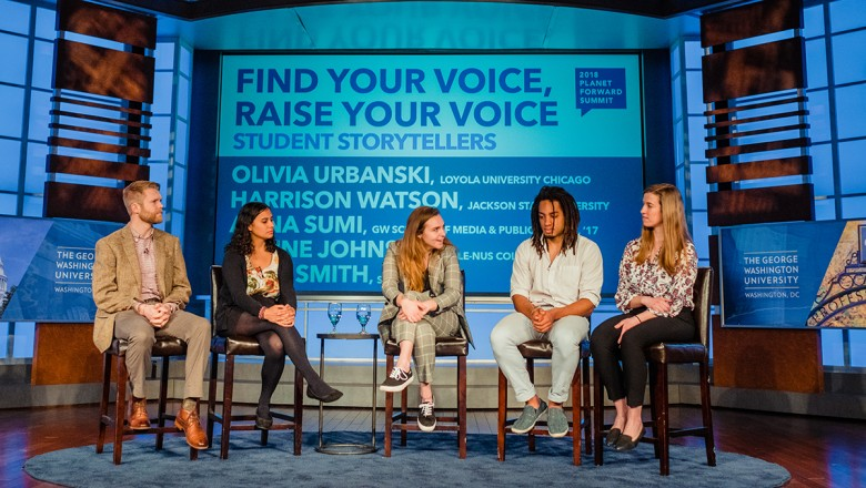The panel of student storytellers shared stories about finding their voice. From left: Zack Smith, SUNY-ESF '17; Alaine Johnson, Yale-NUS student; Anna Sumi, GWU '17; Harrison Watson, Jackson State University; and Olivia Urbanski, Loyola University Chicago.