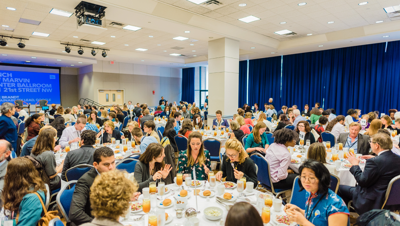 Attendees network at lunch in GW's Marvin Center.