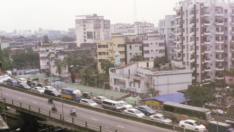 A bird's eye view of the traffic in Dhaka.