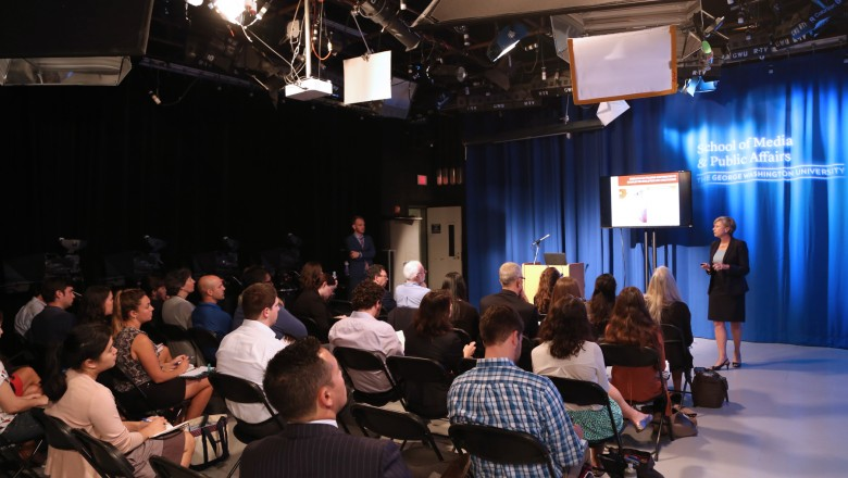 Attendees filled the Richard Eaton Broadcast Studio in GW's School of Media and Public Affairs.
