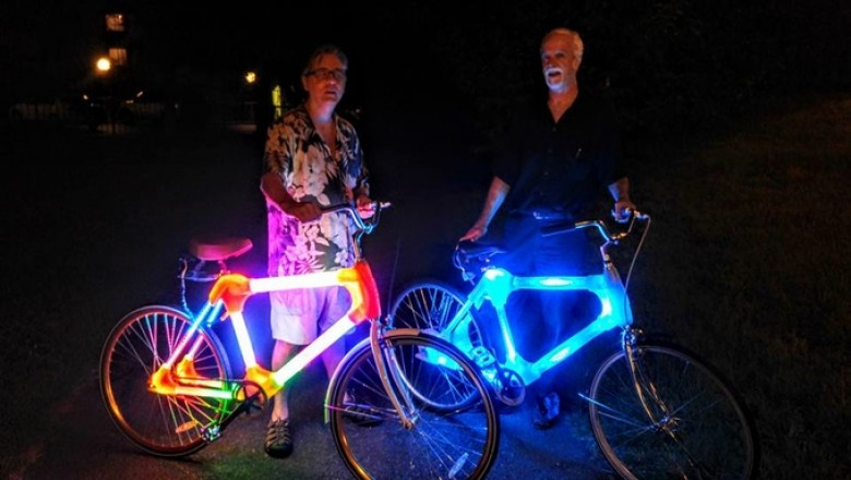 Founder Gerard Poole (R) and Electrical Engineer Steve Svoboda (L) with two of the latest Bright Bike prototypes built in cooperation with Gabriel Pommier, mechanical engineer student at UMDBC. (Photo courtesy of Gerard Poole)
