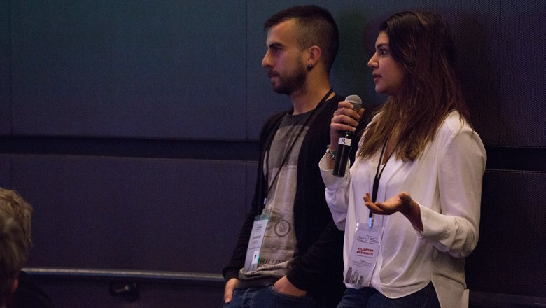 GW students Alejandro Garcia and Farida Fawzy answer questions about a video they made.