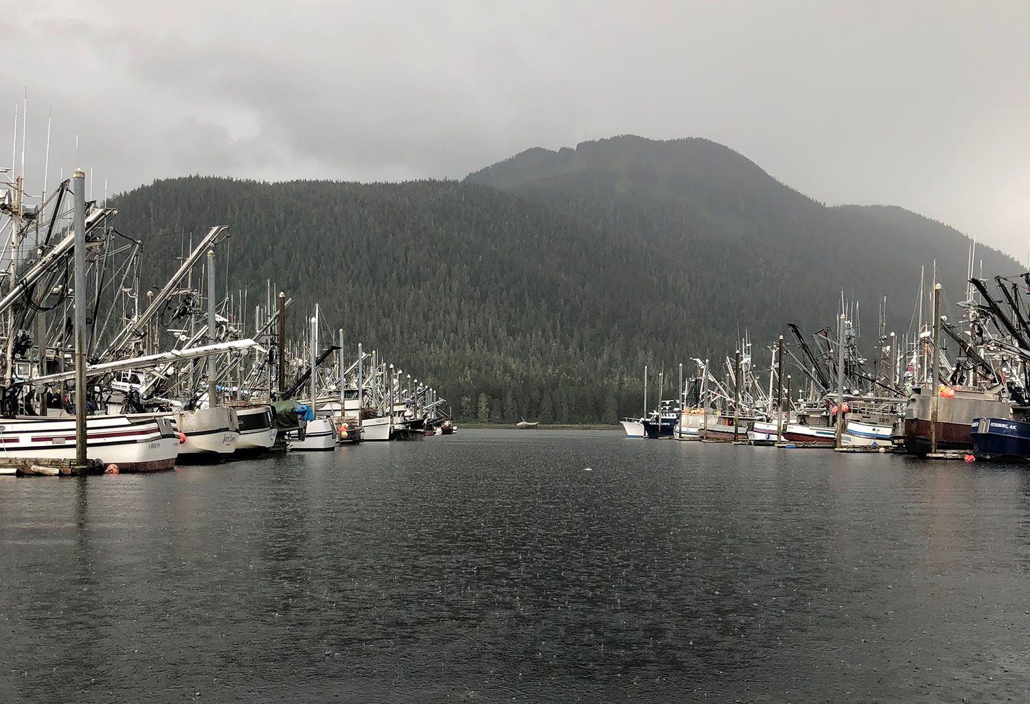 Fishing boats on a rainy day in Alaska