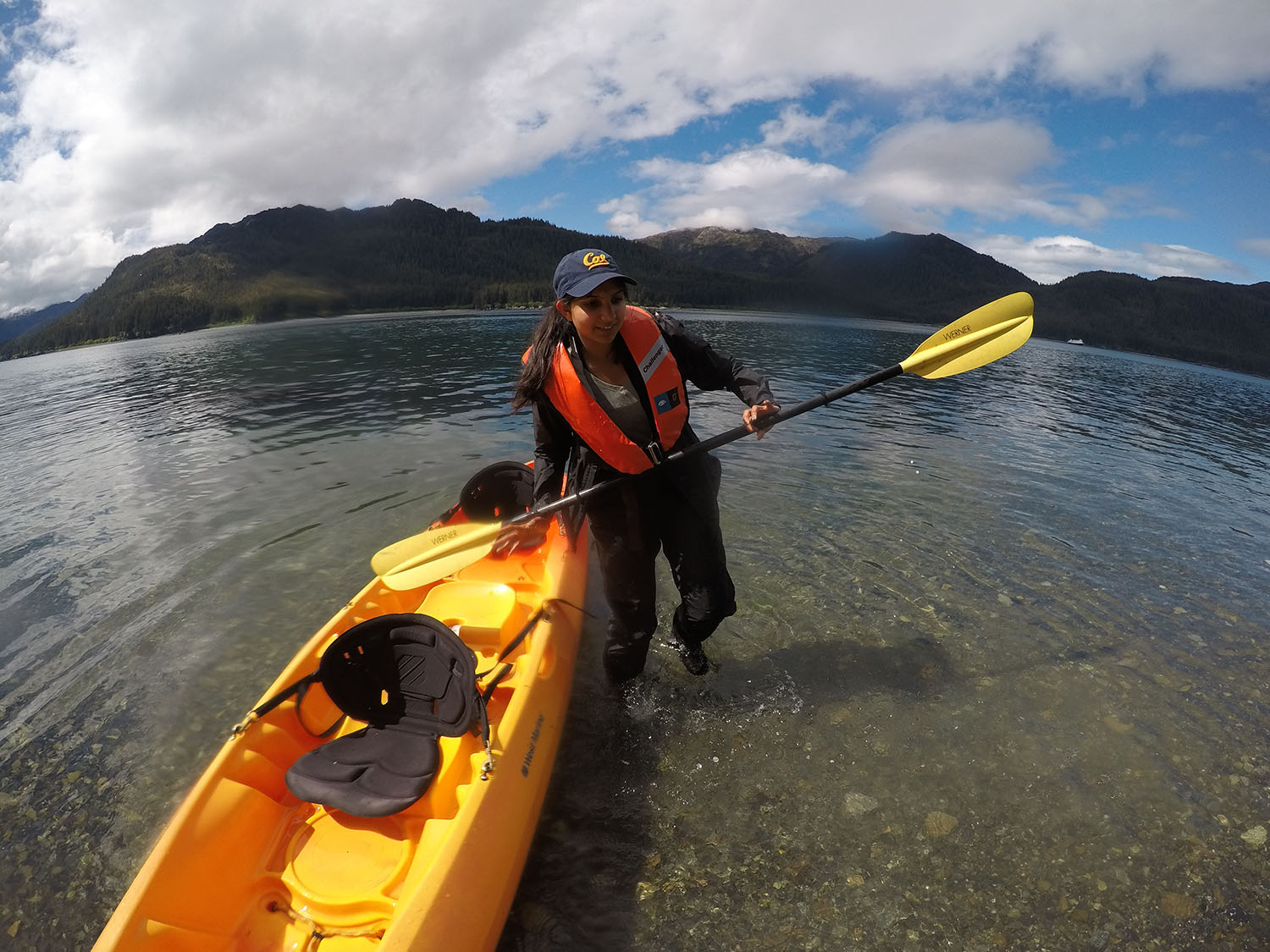 Navya Pothamsetty, UC Berkeley student, with kayak