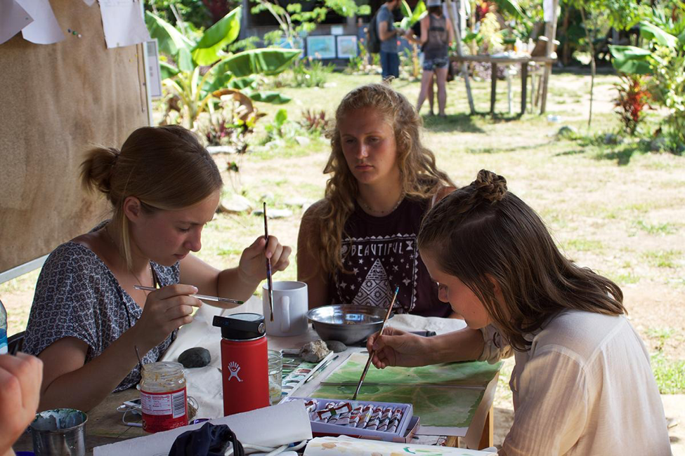 Design thinking intern students draw at Kalu Yala